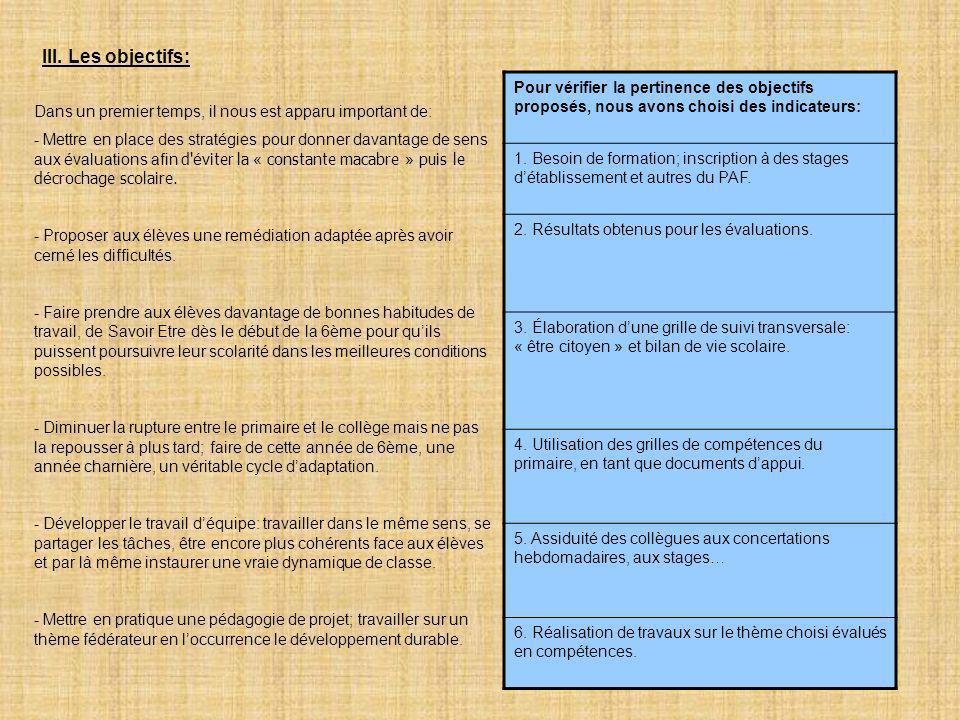 6 III. Les objectifs: Dans un premier temps, il nous est apparu important de: - Mettre en place des stratégies pour donner davantage de sens aux évalu