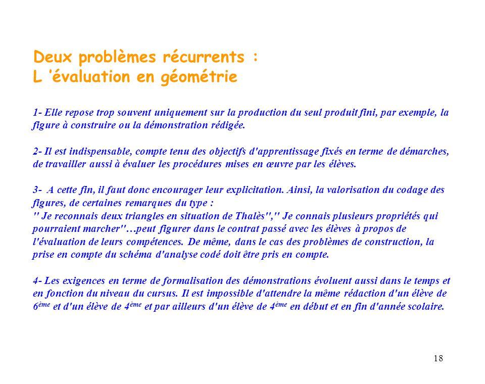 18 Deux problèmes récurrents : L évaluation en géométrie 1- Elle repose trop souvent uniquement sur la production du seul produit fini, par exemple, l