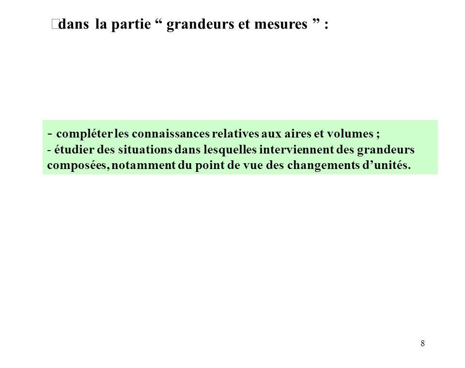 8 dans la partie grandeurs et mesures : - compléter les connaissances relatives aux aires et volumes ; - étudier des situations dans lesquelles interv