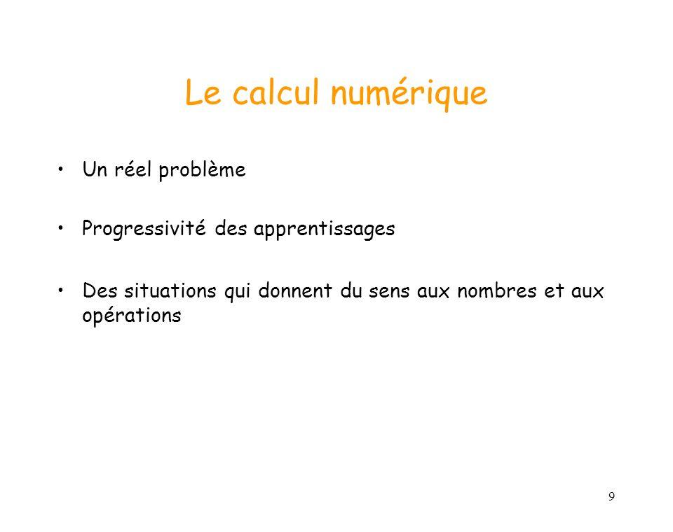 9 Le calcul numérique Un réel problème Progressivité des apprentissages Des situations qui donnent du sens aux nombres et aux opérations