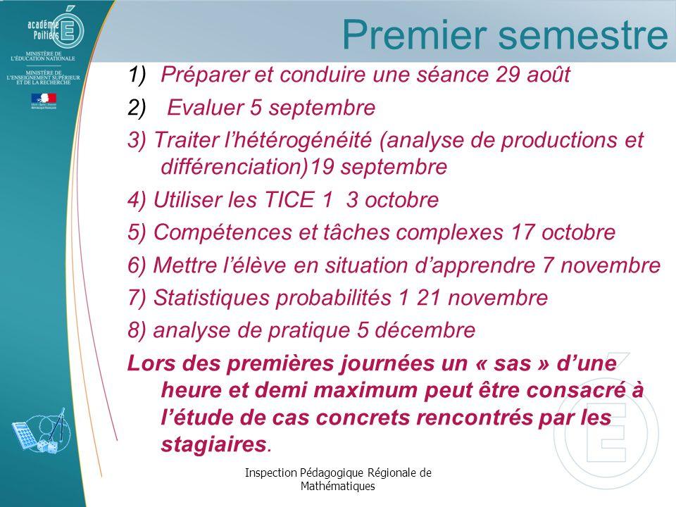 Premier semestre 1) Préparer et conduire une séance 29 août 2) Evaluer 5 septembre 3) Traiter lhétérogénéité (analyse de productions et différenciatio