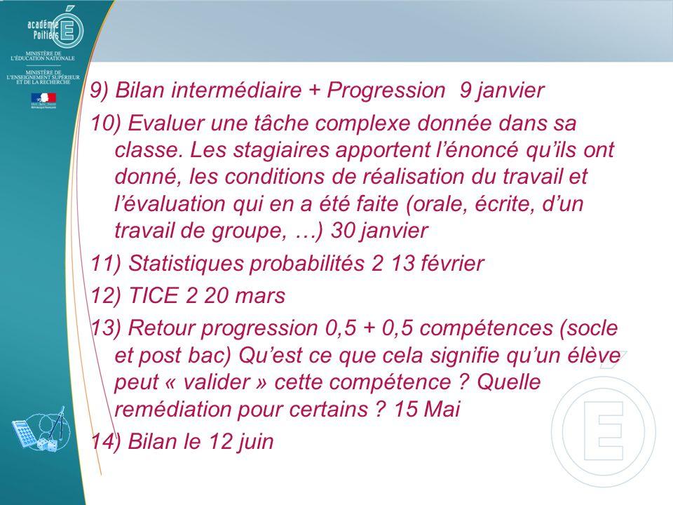 9) Bilan intermédiaire + Progression 9 janvier 10) Evaluer une tâche complexe donnée dans sa classe. Les stagiaires apportent lénoncé quils ont donné,