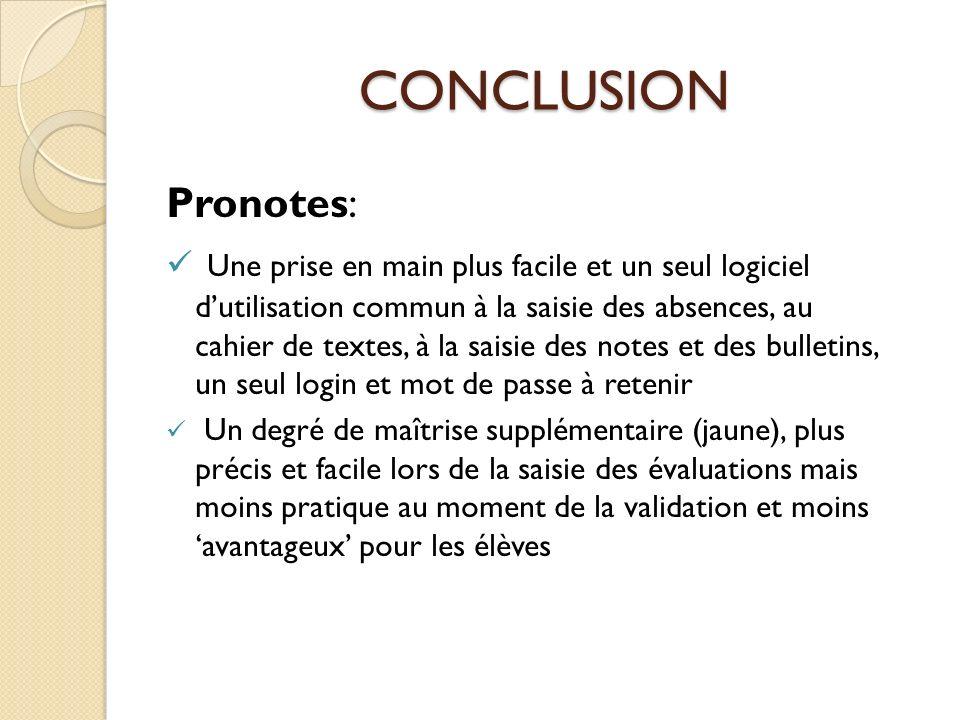 CONCLUSION Pronotes: Une prise en main plus facile et un seul logiciel dutilisation commun à la saisie des absences, au cahier de textes, à la saisie