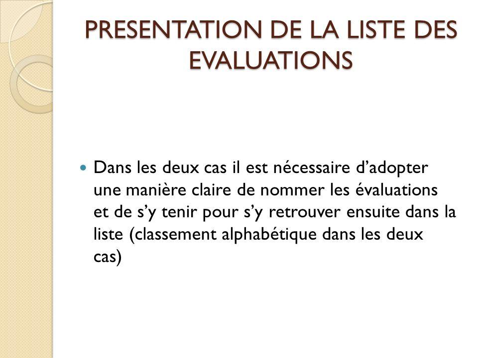 PRESENTATION DE LA LISTE DES EVALUATIONS Dans les deux cas il est nécessaire dadopter une manière claire de nommer les évaluations et de sy tenir pour