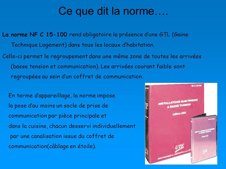 Ce que dit la norme…. La norme NF C 15-100 rend obligatoire la présence dune GTL (Gaine Technique Logement) dans tous les locaux dhabitation. Celle-ci