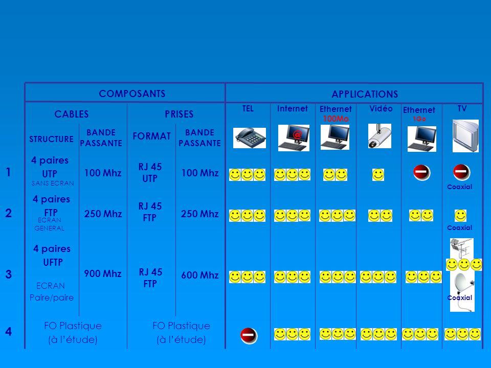 @ COMPOSANTS CABLESPRISES APPLICATIONS STRUCTURE BANDE PASSANTE FORMAT 4 paires UTP 100 Mhz RJ 45 UTP 100 Mhz 250 Mhz 1 2 3 4 FO Plastique (à létude)