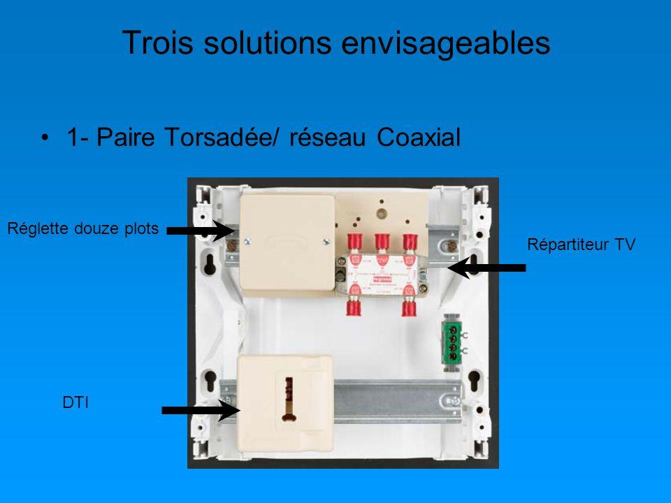 Trois solutions envisageables 1- Paire Torsadée/ réseau Coaxial Réglette douze plots DTI Répartiteur TV
