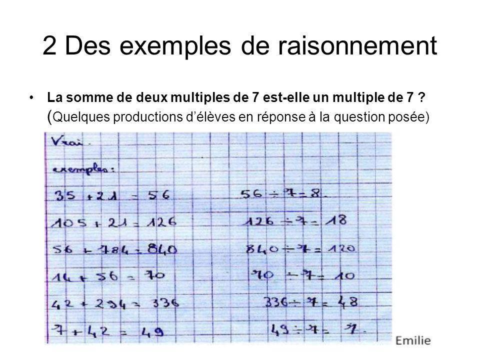 2 Des exemples de raisonnement La somme de deux multiples de 7 est-elle un multiple de 7 ? ( Quelques productions délèves en réponse à la question pos