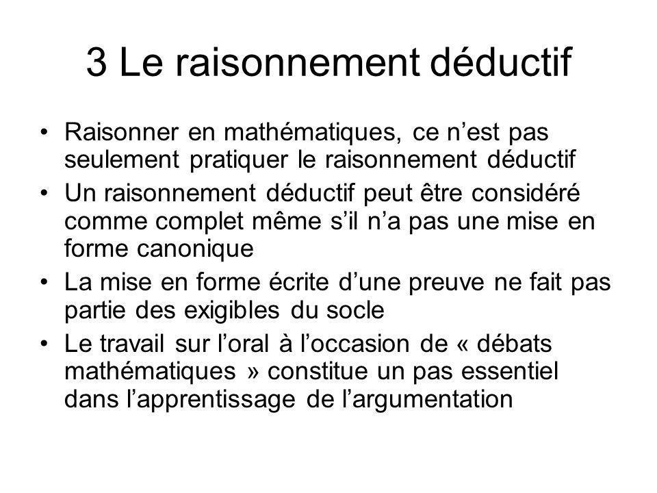3 Le raisonnement déductif Raisonner en mathématiques, ce nest pas seulement pratiquer le raisonnement déductif Un raisonnement déductif peut être con