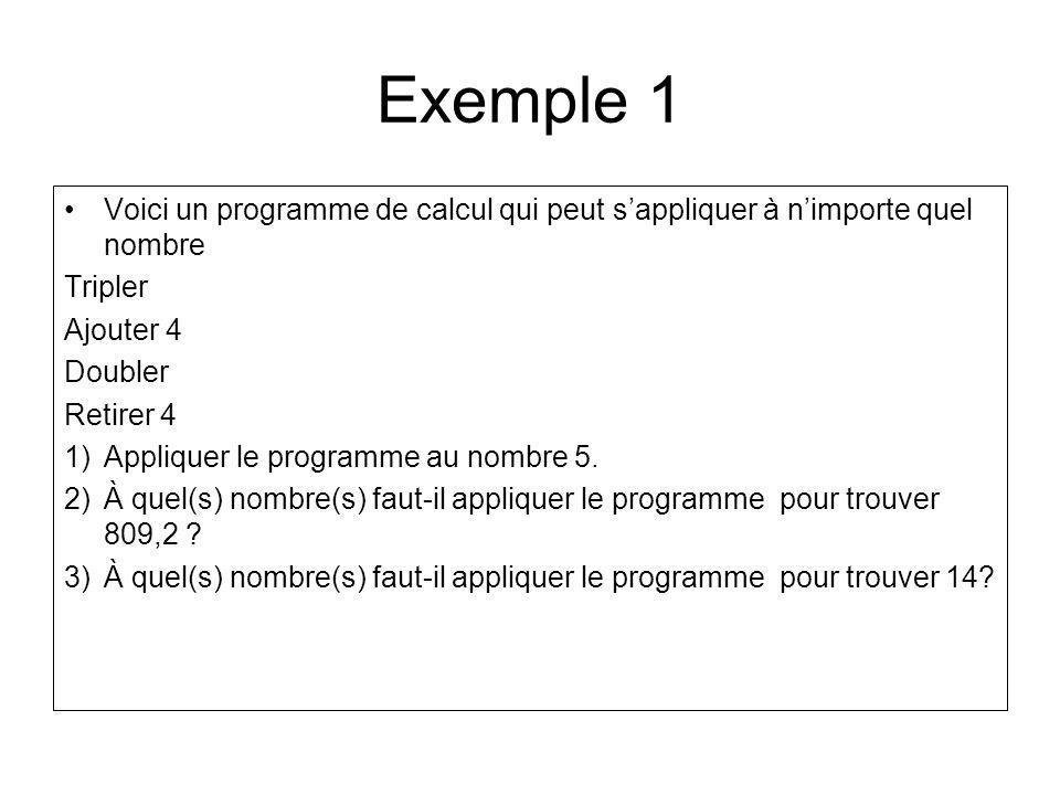 Exemple 1 Voici un programme de calcul qui peut sappliquer à nimporte quel nombre Tripler Ajouter 4 Doubler Retirer 4 1)Appliquer le programme au nomb
