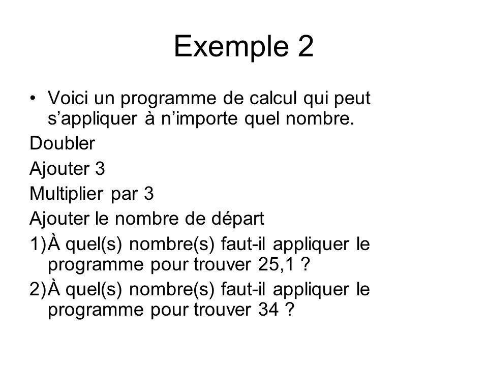 Exemple 2 Voici un programme de calcul qui peut sappliquer à nimporte quel nombre. Doubler Ajouter 3 Multiplier par 3 Ajouter le nombre de départ 1)À