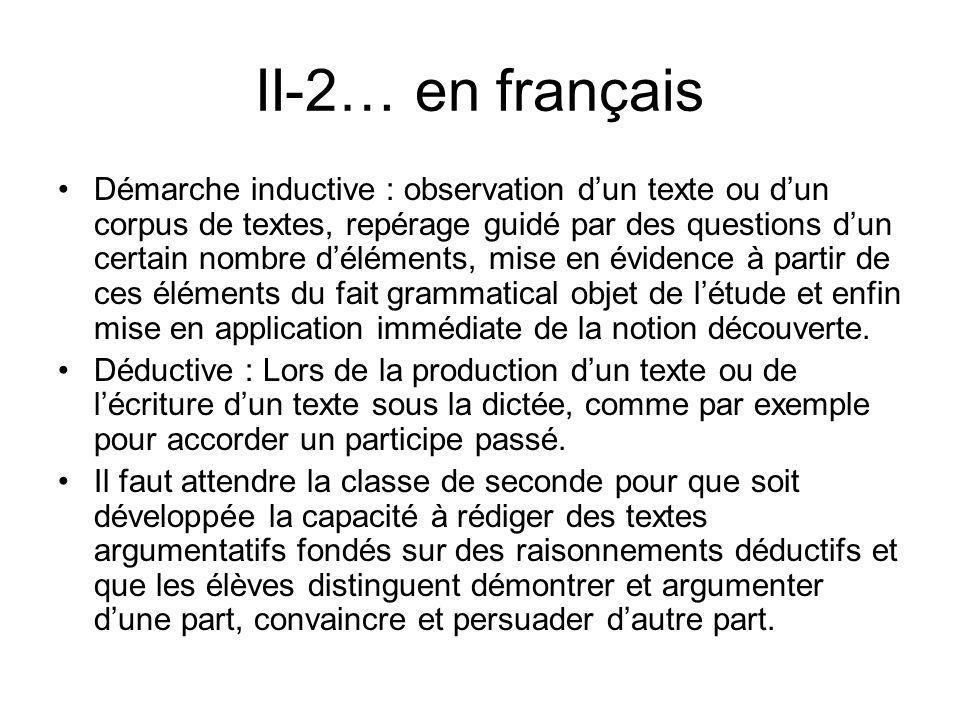 II-2… en français Démarche inductive : observation dun texte ou dun corpus de textes, repérage guidé par des questions dun certain nombre déléments, m