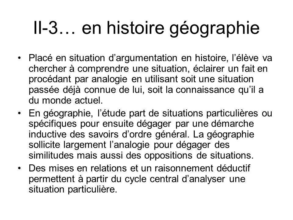 II-3… en histoire géographie Placé en situation dargumentation en histoire, lélève va chercher à comprendre une situation, éclairer un fait en procéda