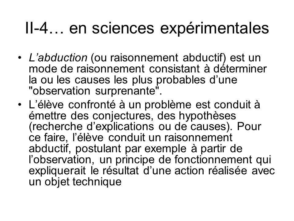 II-4… en sciences expérimentales Labduction (ou raisonnement abductif) est un mode de raisonnement consistant à déterminer la ou les causes les plus p