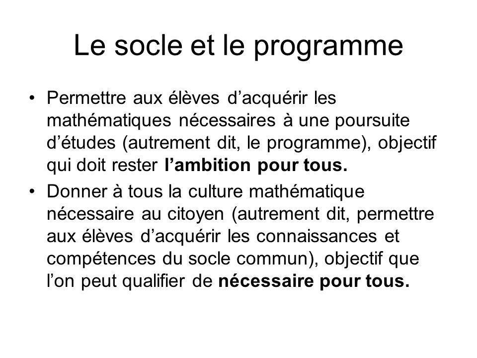 Le socle et le programme Permettre aux élèves dacquérir les mathématiques nécessaires à une poursuite détudes (autrement dit, le programme), objectif