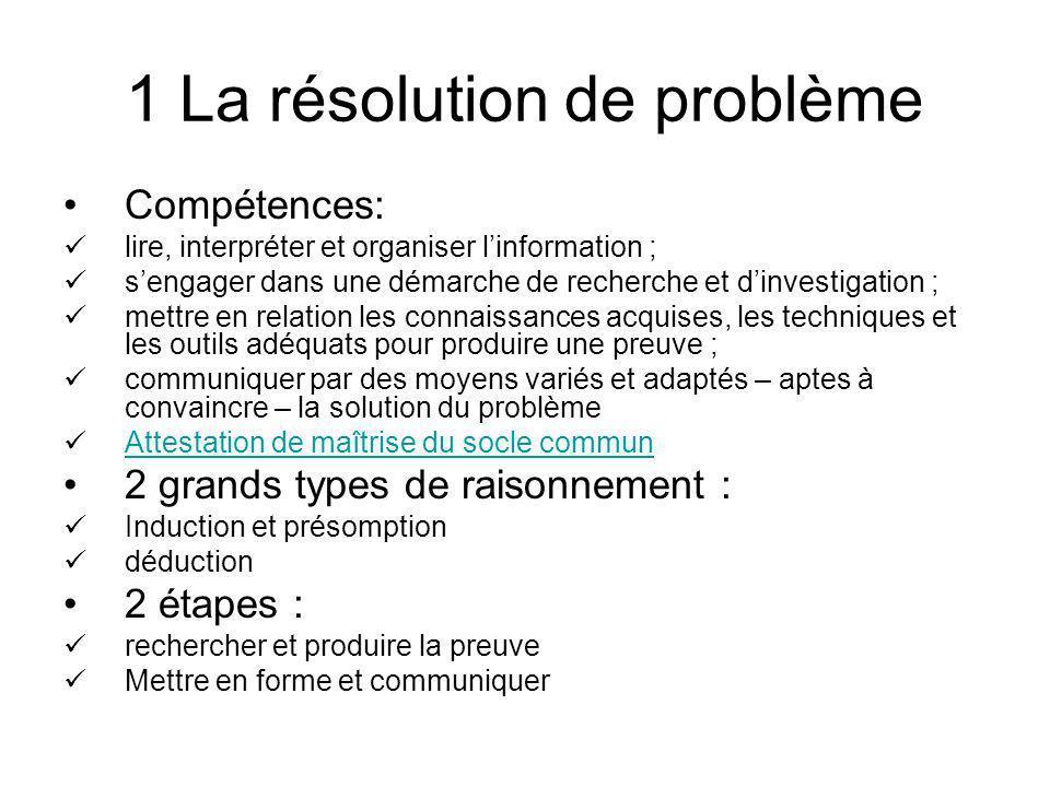 1 La résolution de problème Compétences: lire, interpréter et organiser linformation ; sengager dans une démarche de recherche et dinvestigation ; met