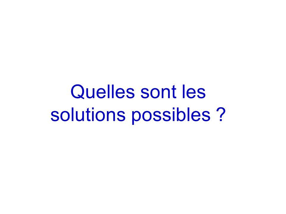 Quelles sont les solutions possibles ?