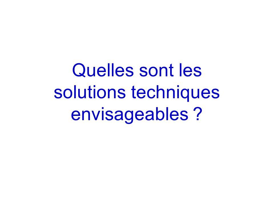 Quelles sont les solutions techniques envisageables ?