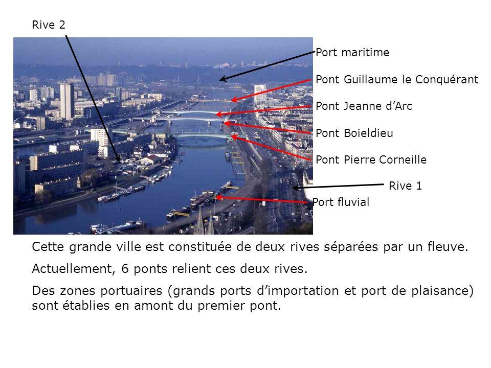 Rive 2 Rive 1 Cette grande ville est constituée de deux rives séparées par un fleuve. Actuellement, 6 ponts relient ces deux rives. Des zones portuair