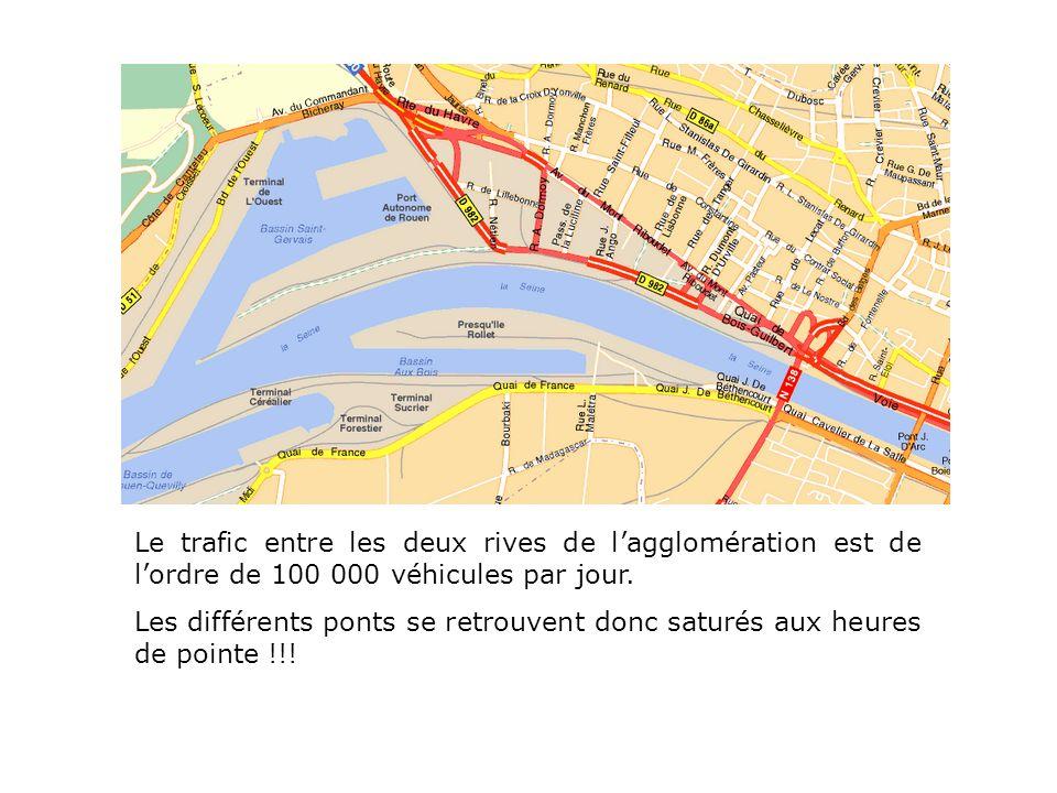 Le trafic entre les deux rives de lagglomération est de lordre de 100 000 véhicules par jour. Les différents ponts se retrouvent donc saturés aux heur