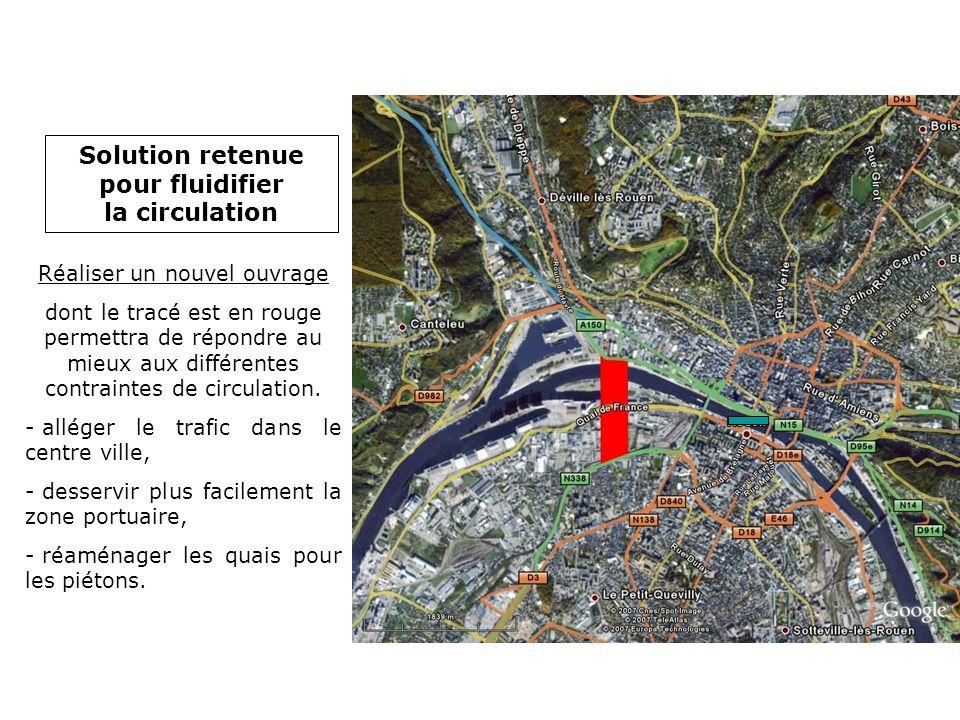 Réaliser un nouvel ouvrage dont le tracé est en rouge permettra de répondre au mieux aux différentes contraintes de circulation. - alléger le trafic d