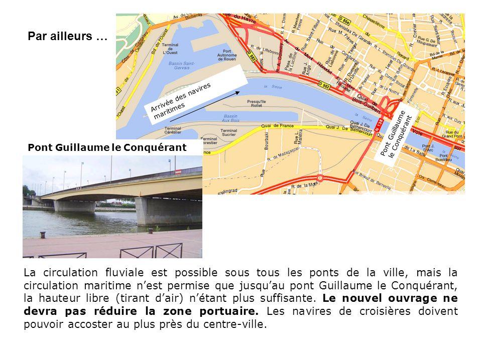 La circulation fluviale est possible sous tous les ponts de la ville, mais la circulation maritime nest permise que jusquau pont Guillaume le Conquéra