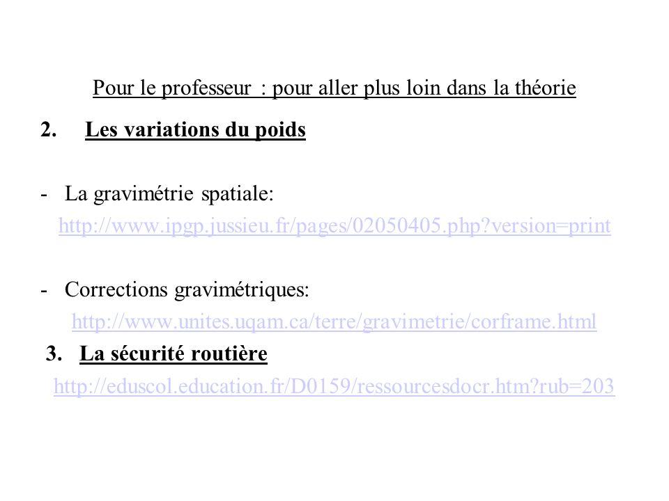 Pour le professeur : pour aller plus loin dans la théorie 2.Les variations du poids - La gravimétrie spatiale: http://www.ipgp.jussieu.fr/pages/020504