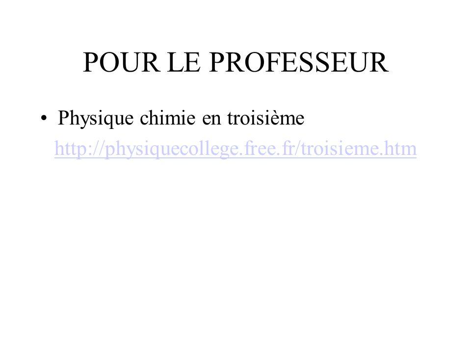 POUR LE PROFESSEUR Physique chimie en troisième http://physiquecollege.free.fr/troisieme.htm