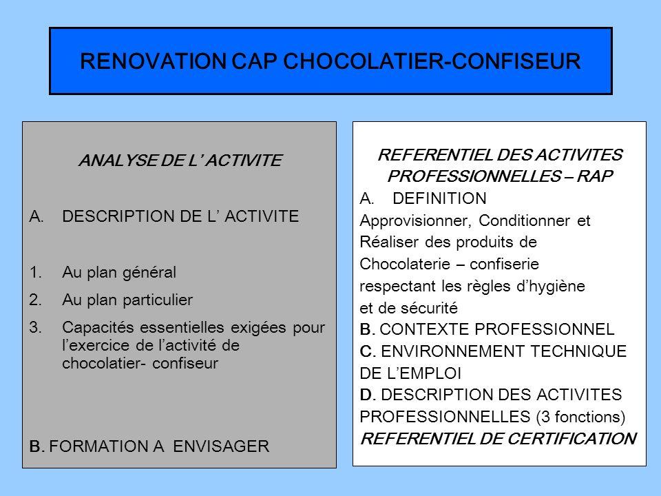 RENOVATION CAP CHOCOLATIER-CONFISEUR ANALYSE DE L ACTIVITE A.DESCRIPTION DE L ACTIVITE 1.Au plan général 2.Au plan particulier 3.Capacités essentielles exigées pour lexercice de lactivité de chocolatier- confiseur B.