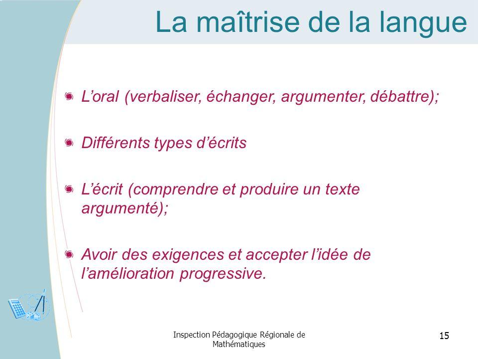 La maîtrise de la langue Loral (verbaliser, échanger, argumenter, débattre); Différents types décrits Lécrit (comprendre et produire un texte argument