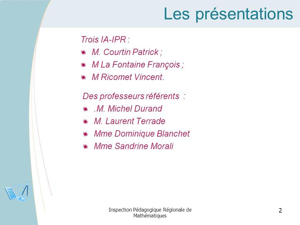 Les présentations Des professeurs référents :.M. Michel Durand M. Laurent Terrade Mme Dominique Blanchet Mme Sandrine Morali Inspection Pédagogique Ré