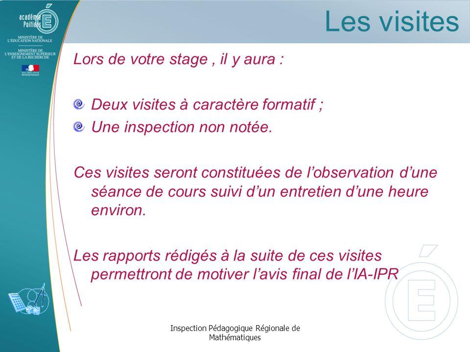 Titularisation Inspection Pédagogique Régionale de Mathématiques Avis du tuteur Avis visiteur Avis chef détablissement Avis de lIA-IPR Décision du jury