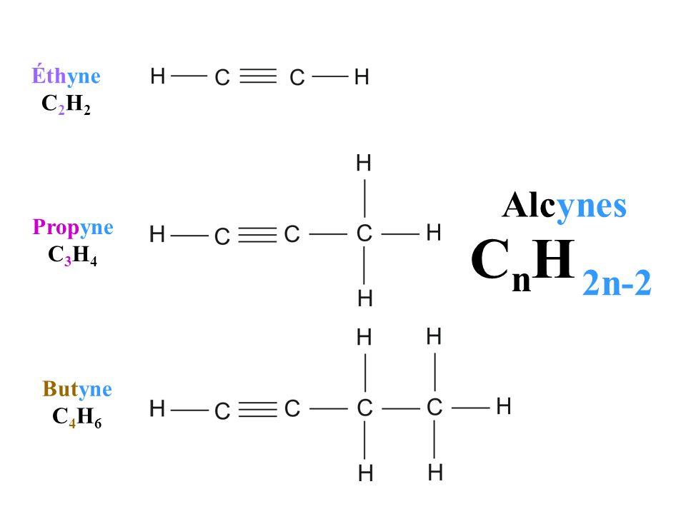 Butyne C 4 H 6 Propyne C 3 H 4 Éthyne C 2 H 2 Alcynes C n H 2n-2