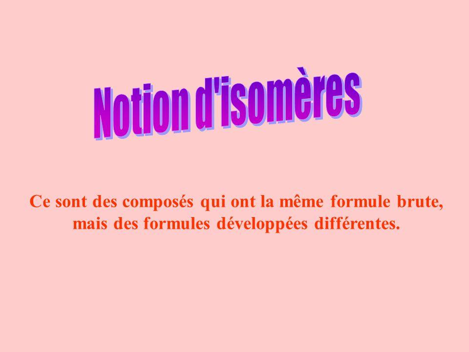 Ce sont des composés qui ont la même formule brute, mais des formules développées différentes.