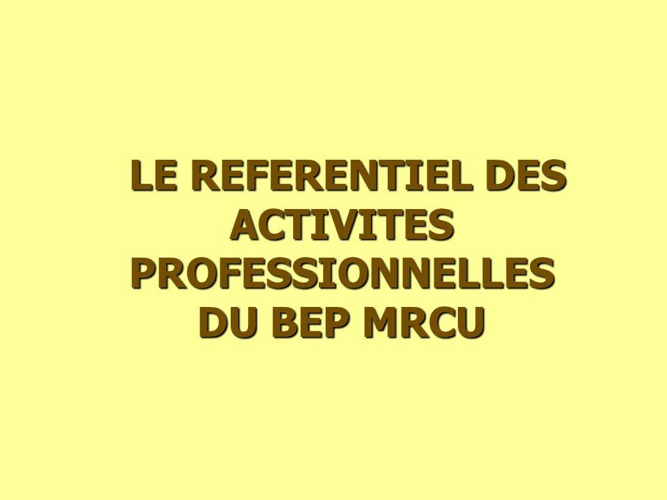 LE REFERENTIEL DES ACTIVITES PROFESSIONNELLES LE REFERENTIEL DES ACTIVITES PROFESSIONNELLES DU BEP MRCU