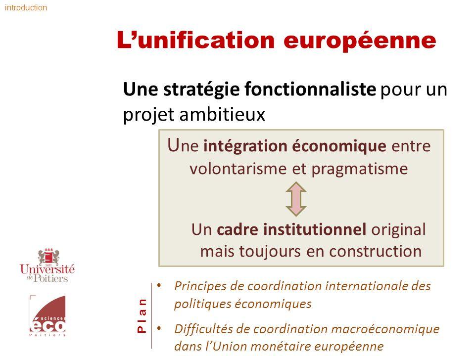 Lunification européenne Une stratégie fonctionnaliste pour un projet ambitieux U ne intégration économique entre volontarisme et pragmatisme Un cadre