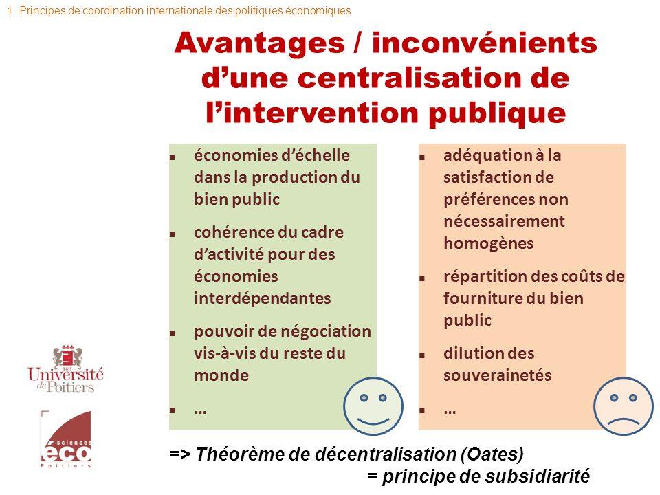 Avantages / inconvénients dune centralisation de lintervention publique n économies déchelle dans la production du bien public n cohérence du cadre da