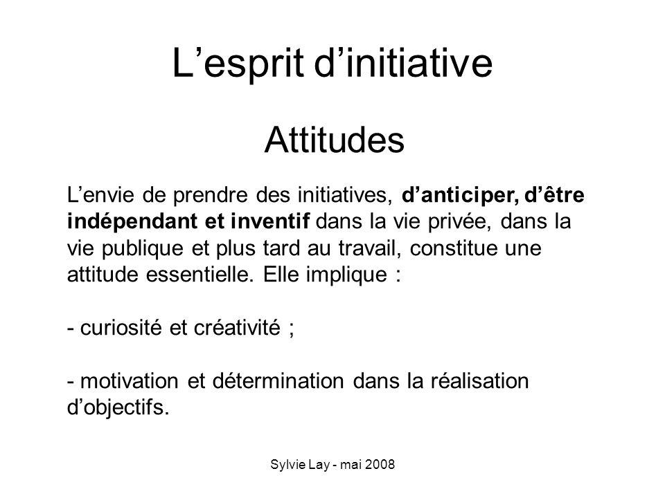 Sylvie Lay - mai 2008 Lesprit dinitiative Attitudes Lenvie de prendre des initiatives, danticiper, dêtre indépendant et inventif dans la vie privée, d