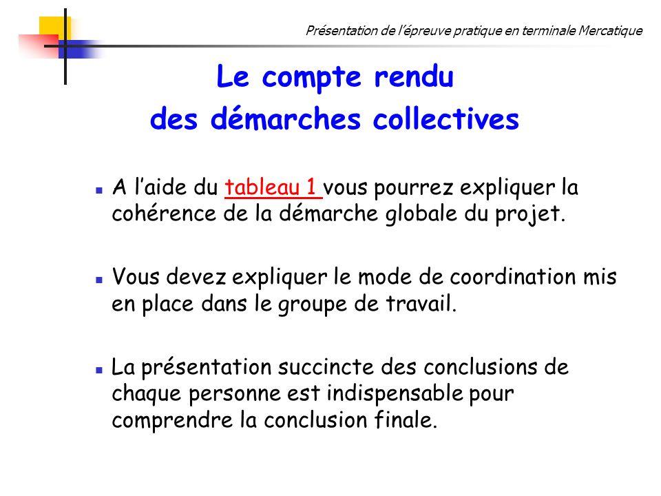Présentation de lépreuve pratique en terminale Mercatique Le compte rendu des démarches collectives A laide du tableau 1 vous pourrez expliquer la coh