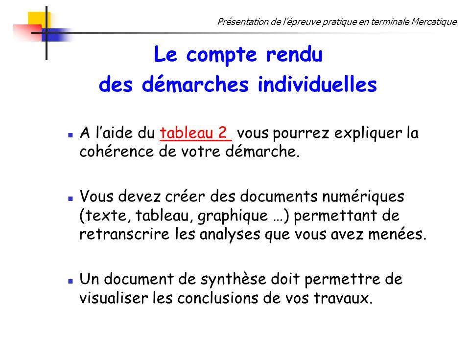 Présentation de lépreuve pratique en terminale Mercatique Le compte rendu des démarches individuelles A laide du tableau 2 vous pourrez expliquer la c