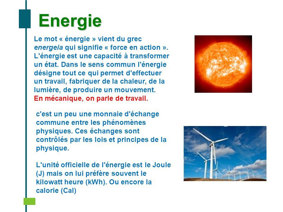 Energie Le mot « énergie » vient du grec energeia qui signifie « force en action ». L'énergie est une capacité à transformer un état. Dans le sens com