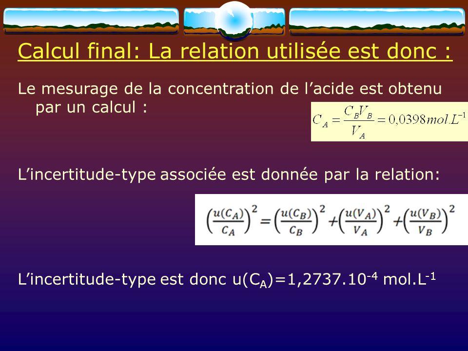 Annexe En considérant que C A suit une loi normale (ou Gaussienne), la probabilité que la valeur vraie soit dans lintervalle compris entre –2u(C A ) et +2u(C A ) de valeur moyenne C A est denviron 95%.