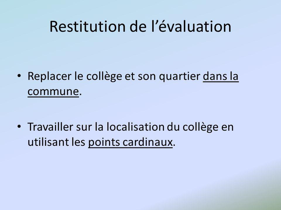 Restitution de lévaluation Replacer le collège et son quartier dans la commune. Travailler sur la localisation du collège en utilisant les points card