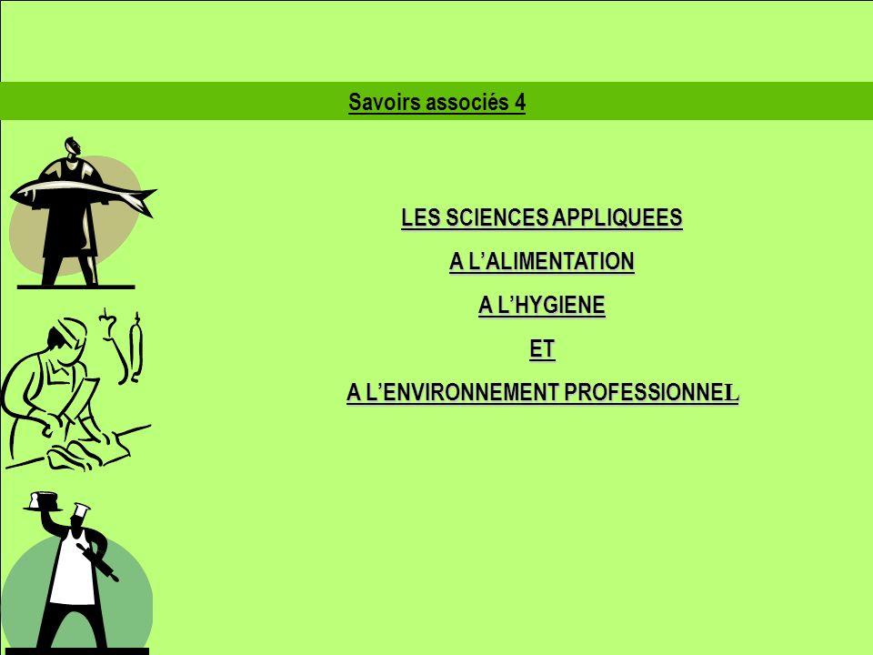Savoirs associés 4 LES SCIENCES APPLIQUEES A LALIMENTATION A LHYGIENE ET A LENVIRONNEMENT PROFESSIONNE L