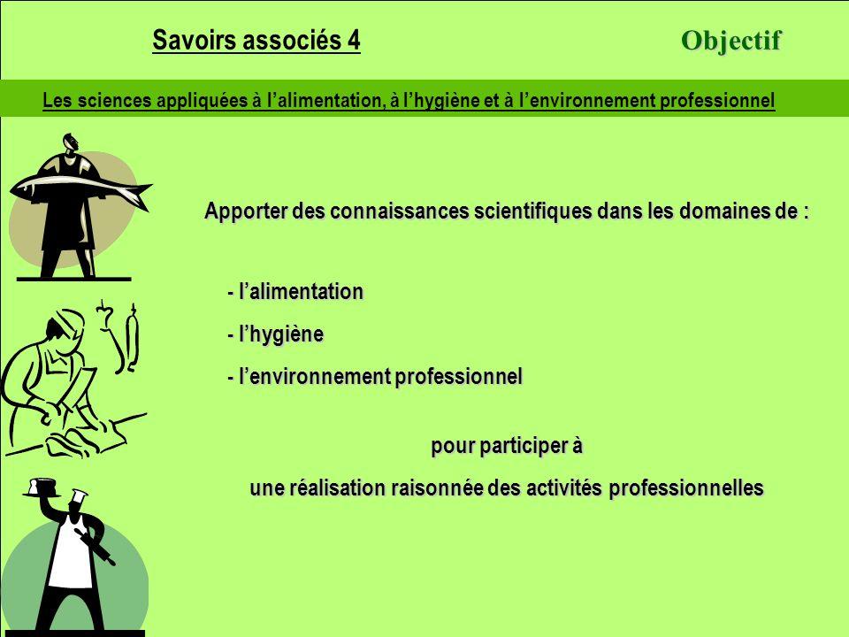 Les sciences appliquées à lalimentation, à lhygiène et à lenvironnement professionnel Apporter des connaissances scientifiques dans les domaines de :