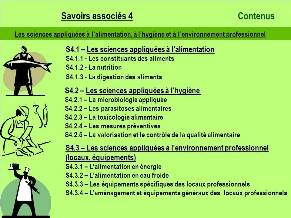 Les sciences appliquées à lalimentation, à lhygiène et à lenvironnement professionnel S4.1 – Les sciences appliquées à lalimentation S4.1.1 - Les cons