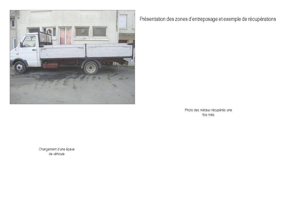 Présentation des zones dentreposage et exemple de récupérations Photo des métaux récupérés une fois triés Chargement dune épave de véhicule
