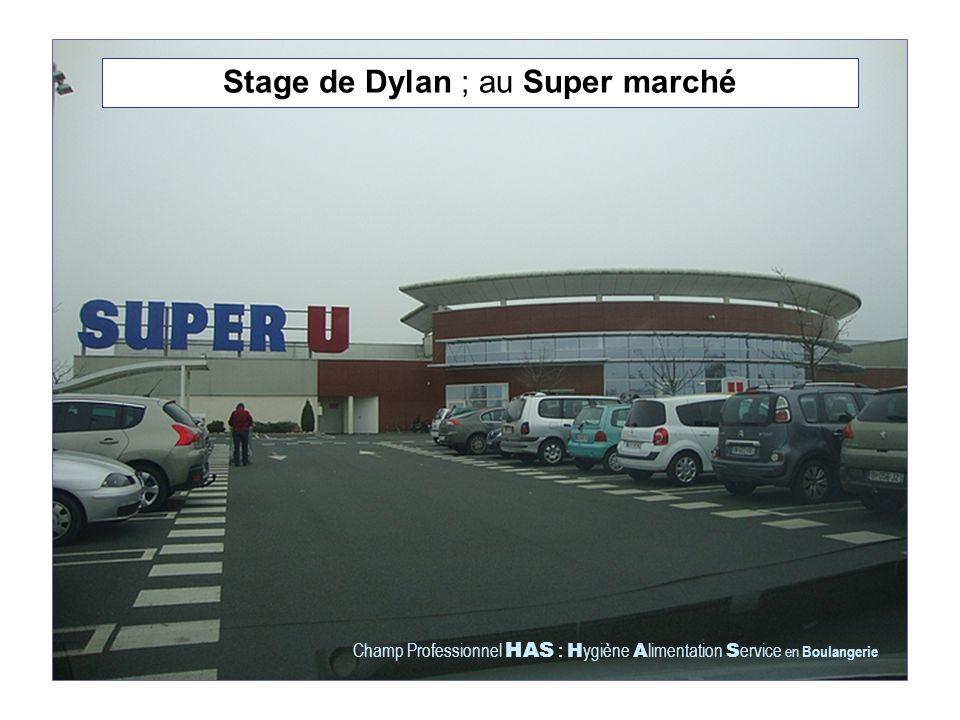 Stage de Dylan ; au Super marché Champ Professionnel HAS : H ygiène A limentation S ervice en Boulangerie