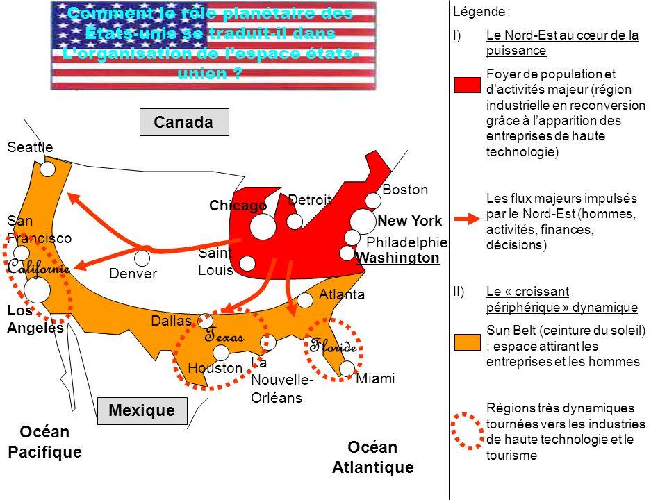 Légende : I)Le Nord-Est au cœur de la puissance Foyer de population et dactivités majeur (région industrielle en reconversion grâce à lapparition des