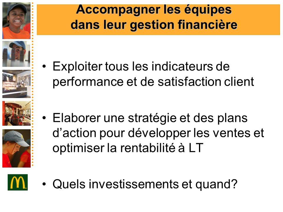 Accompagner les équipes dans leur gestion financière Exploiter tous les indicateurs de performance et de satisfaction client Elaborer une stratégie et